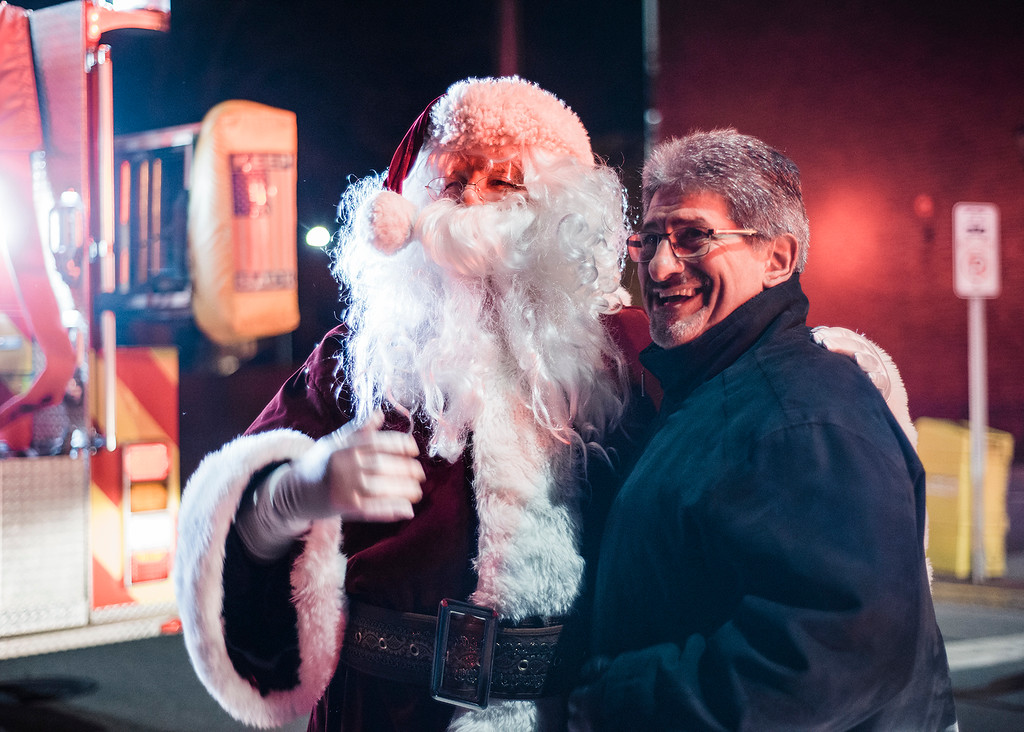 . Mayor Stephen DiNatale poses with Santa ahead of the annual tree lighting on Fitchburg\'s Upper Common on Saturday, December 2, 2017. SENTINEL & ENTERPRISE / Ashley Green