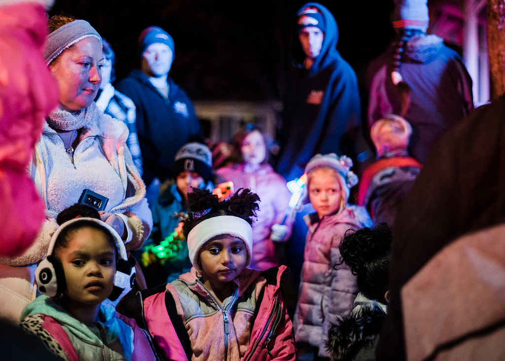 . Families gather on the Upper Common for the annual tree lighting in Fitchburg on Saturday, December 2, 2017. SENTINEL & ENTERPRISE / Ashley Green