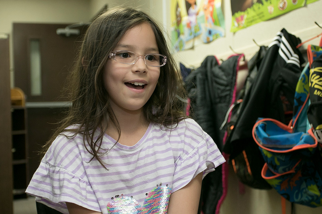 . Lilyanna Radzewicz,8, in Robin Bachant\'s second grade class at Crocker Elementary School talks about her mom on Friday, May 10, 2019. SENTINEL & ENTERPRISE/JOHN LOVE