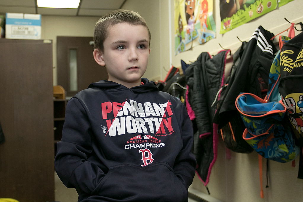. Jacobe Kuttler, 7, in Robin Bachant\'s second grade class at Crocker Elementary School talks about his mom on Friday, May 10, 2019. SENTINEL & ENTERPRISE/JOHN LOVE
