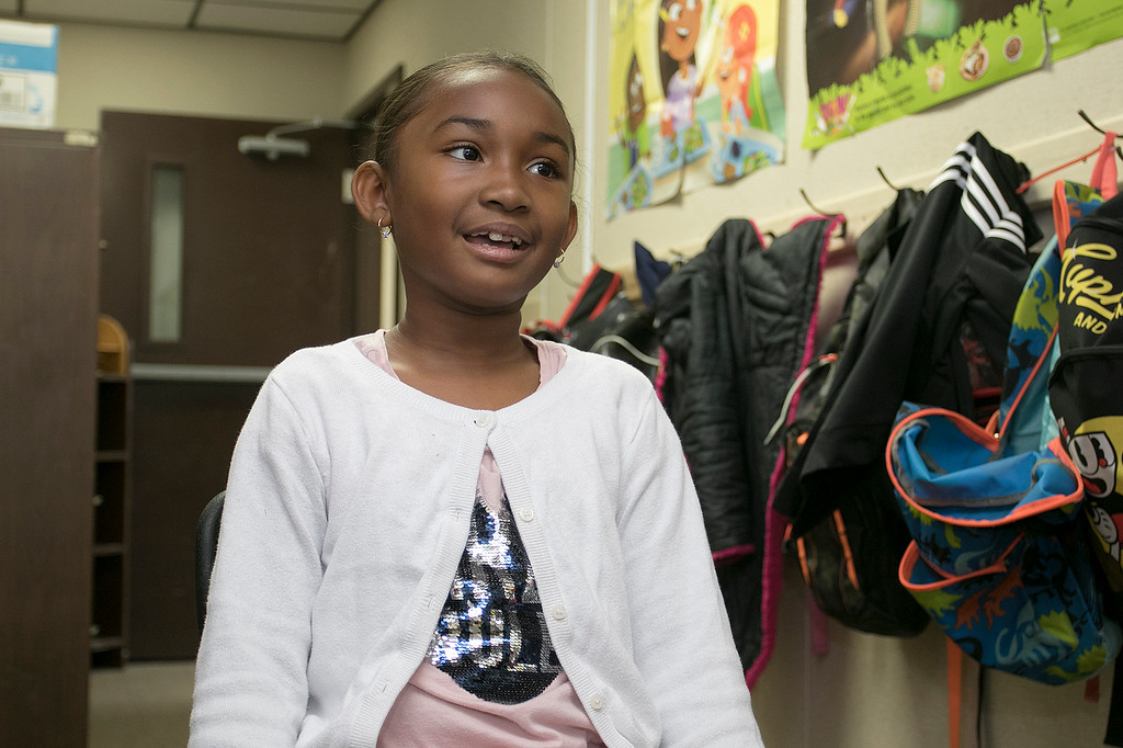 . Arianna Louissaint, 8, in Robin Bachant\'s second grade class at Crocker Elementary School talks about her mom on Friday, May 10, 2019. SENTINEL & ENTERPRISE/JOHN LOVE