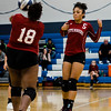Fitchburg's Nyejah Johnson and Diandra Boddie in action during the rivalry match against Leominster on Friday, October 13, 2017. SENTINEL & ENTERPRISE / Ashley Green