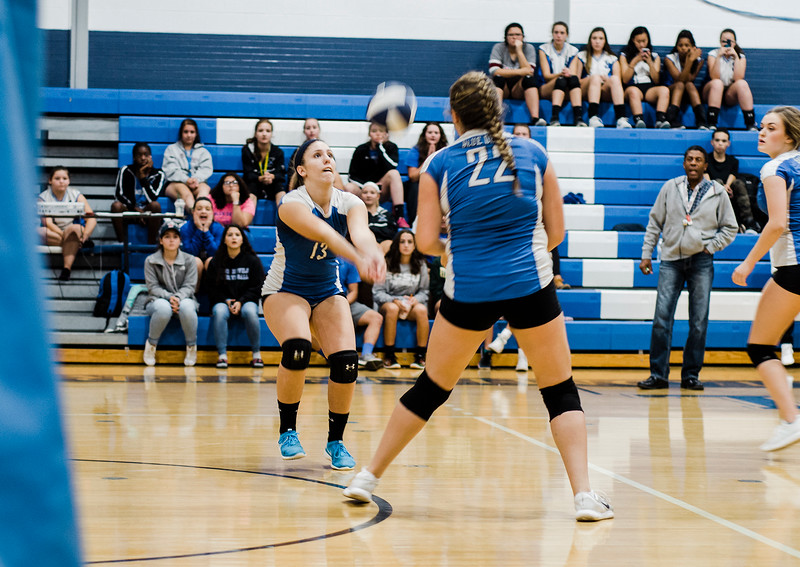 Leominster's Emma Burkhardt in action during the rivalry match against Fitchburg on Friday, October 13, 2017. SENTINEL & ENTERPRISE / Ashley Green