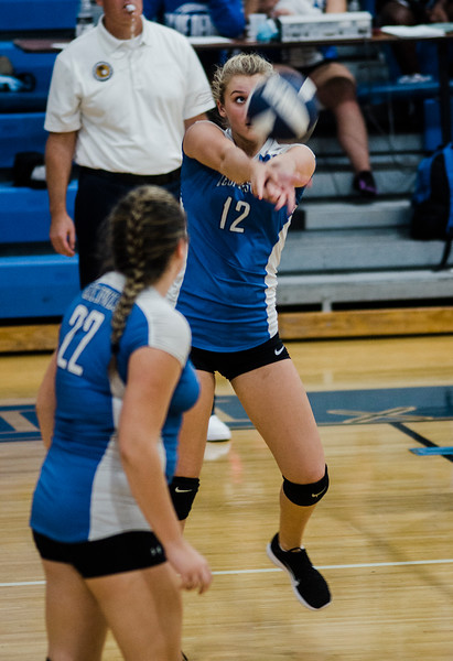 Leominster's Anica Iacaboni in action during the rivalry match against Fitchburg on Friday, October 13, 2017. SENTINEL & ENTERPRISE / Ashley Green