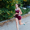 Fitchburg's Hannah Neilon approaches with a first place finish during the cross country meet against Leominster at Coggshall Park in Fitchburg on Tuesday, October 17, 2017. SENTINEL & ENTERPRISE / Ashley Green