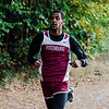 Fitchburg's Angel Figueroa approaches with a second place finish during the cross country meet against Leominster at Coggshall Park in Fitchburg on Tuesday, October 17, 2017. SENTINEL & ENTERPRISE / Ashley Green
