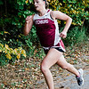 Fitchburg's Emerson Scott approaches with a second place finish during the cross country meet against Leominster at Coggshall Park in Fitchburg on Tuesday, October 17, 2017. SENTINEL & ENTERPRISE / Ashley Green