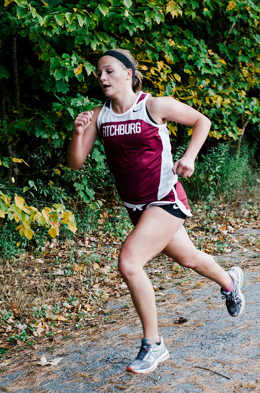 . Fitchburg\'s Emerson Scott approaches with a second place finish during the cross country meet against Leominster at Coggshall Park in Fitchburg on Tuesday, October 17, 2017. SENTINEL & ENTERPRISE / Ashley Green