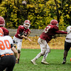 Fitchburg's Andrew Brooks completes a pass during the game against Marlborough on Saturday morning. SENTINEL & ENTERPRISE / Ashley Green