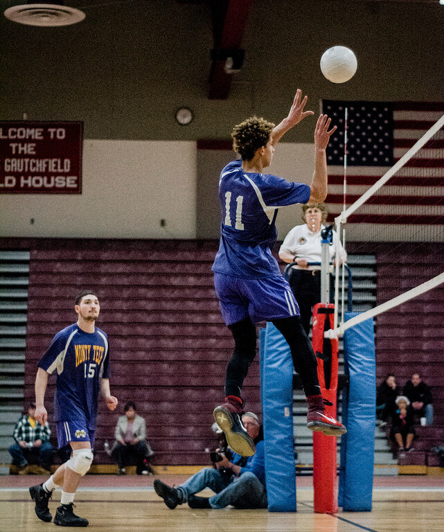 . Monty Tech\'s Charlie Kelley in action against Fitchburg on Tuesday, April 4, 2017. SENTINEL & ENTERPRISE / Ashley Green