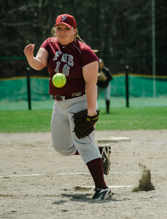 . Fitchburg\'s Hannah Faulkner delivers a pitch during the game against Monty Tech on Wednesday, April 19, 2017. SENTINEL & ENTERPRISE / Ashley Green