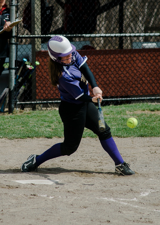 . Monty Tech\'s Kiera McNamara connects with a pitch during the game against Fitchburg High on Wednesday, April 19, 2017. SENTINEL & ENTERPRISE / Ashley Green