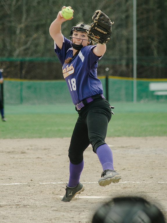 . Monty Tech\'s Mallory LeBlanc delivers a pitch during the game against Fitchburg High on Wednesday, April 19, 2017. SENTINEL & ENTERPRISE / Ashley Green
