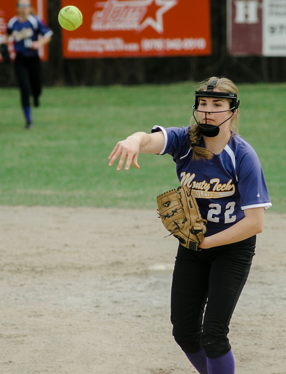 . Monty Tech\'s Sara Dupont throws a runner out at first base during the game against Fitchburg High on Wednesday, April 19, 2017. SENTINEL & ENTERPRISE / Ashley Green
