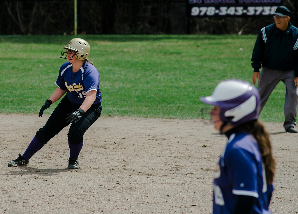 . Monty Tech\'s Kyra Tammaro grabs a lead off second base during the game against Fitchburg High on Wednesday, April 19, 2017. SENTINEL & ENTERPRISE / Ashley Green