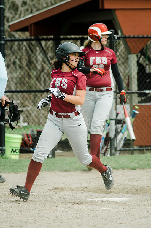 . Fitchburg\'s Alydia Le scores a run during the game against Monty Tech on Wednesday, April 19, 2017. SENTINEL & ENTERPRISE / Ashley Green