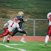 Fitchburg's Isaul Figueroa attempts to break up the Shrewsbury touchdown on Saturday evening. SENTINEL & ENTERPRISE / Ashley Green