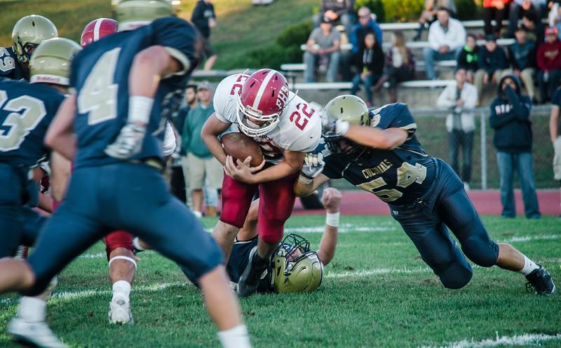 Fitchburg's Damien Nadal is brought down by the defense during the loss to Shrewsbury on Saturday evening. SENTINEL & ENTERPRISE / Ashley Green