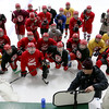 Fitchburg/ Monty Tech High School Hockey coach Steve Lowney goes through the team next drill at practice on Tuesday at the Wallace Civic Center. SENTINEL & ENTERPRISE/JOHN LOVE