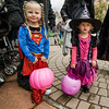 Frankie Chevrette, 4, and Wednesday, 2, are alll smiles during trick-or-treating in downtown Fitchburg on Saturday afternoon. SENTINEL & ENTERPRISE / Ashley Green