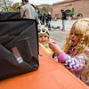 Tulah, 2, and Tatem Pelletier, 3, during trick-or-treating in downtown Fitchburg on Saturday afternoon. SENTINEL & ENTERPRISE / Ashley Green