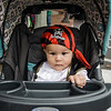 Tiny pirate Kendrick Bisioso rides in style during trick-or-treating in downtown Fitchburg on Saturday afternoon. SENTINEL & ENTERPRISE / Ashley Green