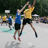 The second annual Sunny Side Foundation's Summer Throwdown three on three basketball tournament was held on Saturday, July 20, 2019 at Lowe Park in Fitchburg. Brendan Dion from Clinton tries to stop a shot by Felex Morales from Gardner during their 3 on 3 game. SENTINEL & ENTERPRISE/JOHN LOVE