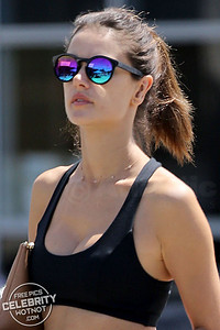 Alessandra Ambrosio Shows Off Figure In Tiny Gym Shorts and Sports Bra, LA