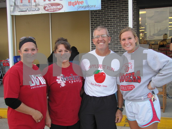 Wendy Moore, Donette and Mitch Halverson, and Carson Jarrard before they head out on the walk/run.