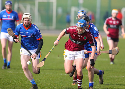 22/02/2019. Fitzgibbon Cup at WIT. Electric Ireland Fergal Maher Cup Semi Final MIC Thurles V St Marys. Pictured are MIC Thurles Cian O'Connell and St Marys Tiarnan Murphy. Picture: Patrick Browne