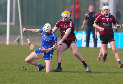 22/02/2019. Fitzgibbon Cup at WIT. Electric Ireland Fergal Maher Cup Semi Final MIC Thurles V St Marys. Pictured are MIC Thurles Michael Clohessy and St Marys Conor Kelly. Picture: Patrick Browne