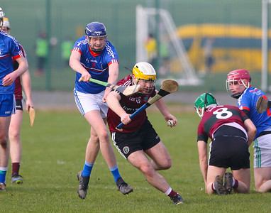 22/02/2019. Fitzgibbon Cup at WIT. Electric Ireland Fergal Maher Cup Semi Final MIC Thurles V St Marys. Pictured are MIC Thurles Killian Hannan and St. Marys Michael McGreevy. Picture: Patrick Browne