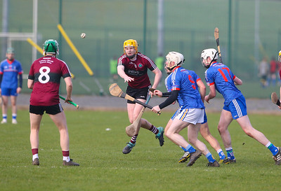 22/02/2019. Fitzgibbon Cup at WIT. Electric Ireland Fergal Maher Cup Semi Final are St Marys Michael Hopkins and David Grant with MIC Thurles Cian O'Connell and Michael Clohessy. Picture: Patrick Browne