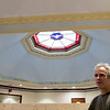 The ceiling in the original section of the Thayer Memorial Library in Lancaster had been damaged and they had to call in an expert to get it fixed. John Sirois the contractor they called to get the job done talks about how he did it with the ceiling just behind him. SENTINEL & ENTERPRISE/JOHN LOVE