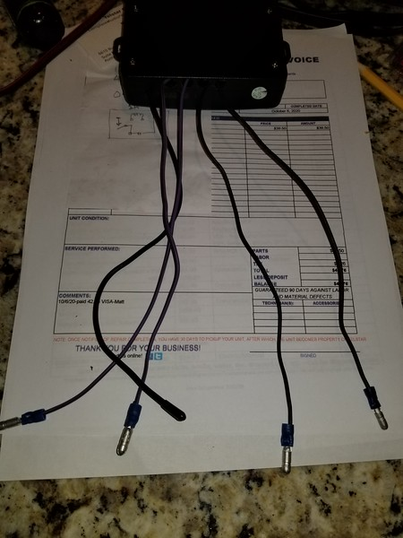 The four pigtails to connect to the external relays, one set is purple, the other set is black. plus the other black wire is the antenna for the reciever.