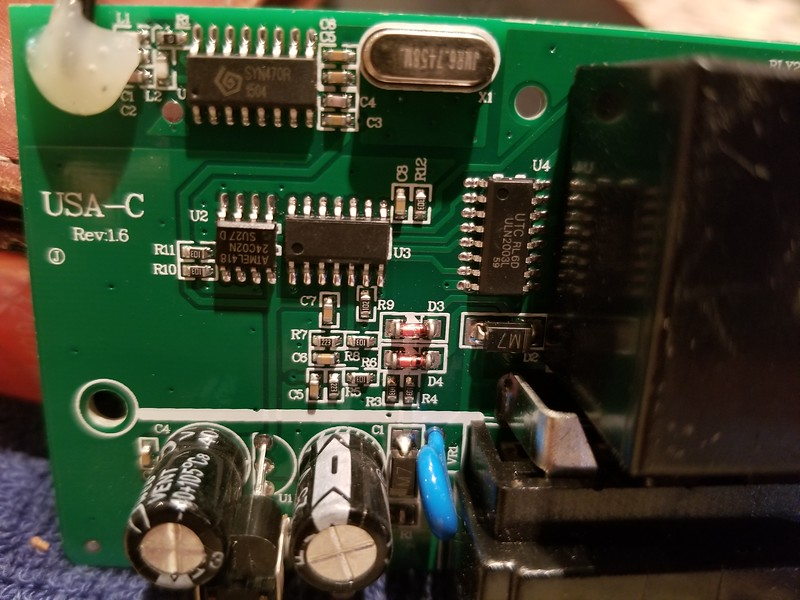 The front side of the printed circuit board.