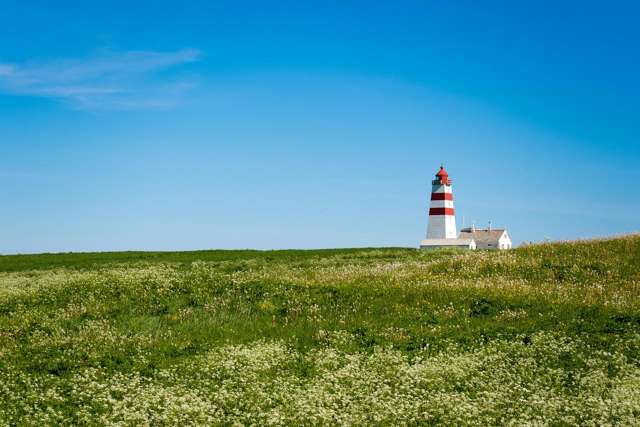 Godoya Island Lighthouse Alone in a Field, Norway