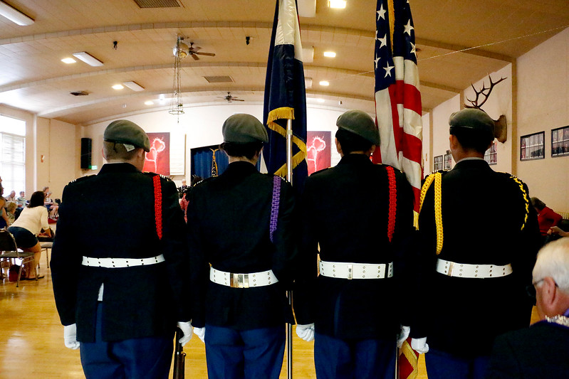 Loveland ROTC presents the colors at the Elks Lodge in Loveland on Wednesday, June 14, 2017. In order from left to right: Casey North, 15, Abigayle Wing, 15, Andrẽ Dominguez, 17, Jonathan Ogawa, 17. (Michelle Risinger/ Loveland Reporter-Herald)
