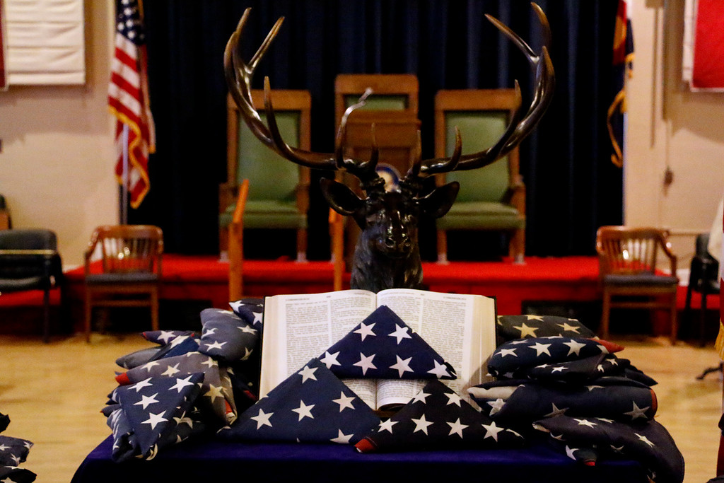 . Elks Lodge 1051 hosted a Flag Day ceremony to retire US Flags on Wednesday evening, June 14, 2017. (Michelle Risinger/ Loveland Reporter-Herald)