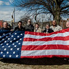 Mayor Stephen DiNatale joined a group on the Upper Common in Fitchburg on Friday, March 3, 2017 to raise a series of 27 new flags donated to the city by a group of local business owners. Left to right is John Godek, Slattery's owner Dave Celuzza, Il Forno owner Mike Mohamed, Gary Withington of the DPW, Nate LaRose, Mayor DiNatale, Mike Montouri and Dr. Rob Babineau. SENTINEL & ENTERPRISE / Ashley Green