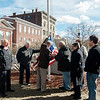 Mayor Stephen DiNatale joined a group on the Upper Common in Fitchburg on Friday, March 3, 2017 to raise a series of 27 new flags donated to the city by a group of local business owners. Joining the Mayor was John Godek, Slattery's owner Dave Celuzza, Il Forno owner Mike Mohamed, Gary Withington of the DPW, Nate LaRose, Mayor DiNatale, Mike Montouri and Dr. Rob Babineau. SENTINEL & ENTERPRISE / Ashley Green