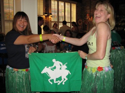 Before embarking on her arduous journey, Shig described feeling as if she were a runner carrying the Olympic torch.  Fabulous Flag Mule Shig, OutlandoGirl   (photo courtesy of D-A-O)