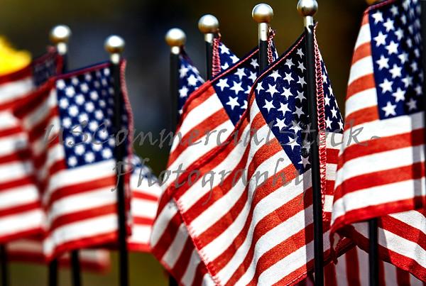 United States Flag on Grave Marker