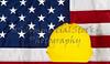 Construcion Industry Helmet on American Made Flag