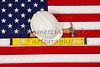 Construction Building Tools on American USA Flag concept
