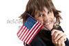 Woman waving an American Flag
