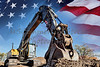 Industrial Heavy Equipment machine excavator USA flag concept building America