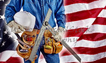 contractor carpenter man on USA flag building America