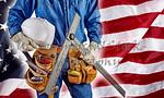 contractor carpenter man on USA flag building America