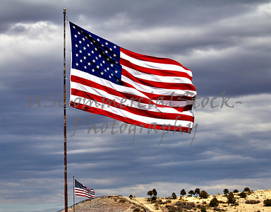 Two US Flags Flying